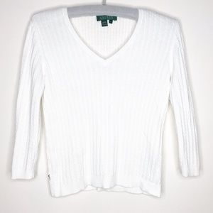 Lauren Ralph Lauren White Sweater Small
